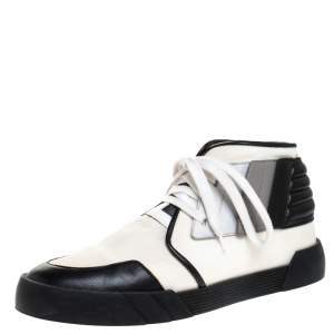 Giuseppe Zanotti Black/White Canvas and Leather Foxy London High Top Sneakers Size 43.5