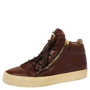 Giuseppe Zanotti Brown Leather Double Zip Lace Up Sneakers Size 43