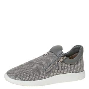 Giuseppe Zanotti Grey Studded Suede And Leather Double Zip Slip On Sneakers Size 40