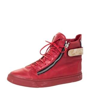 Giuseppe Zanotti Red Leather London High Top Sneakers Size 44.5