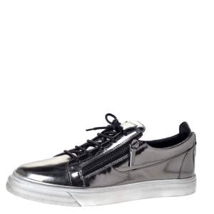 Giuseppe Zanotti Metallic Gunmetal Leather May London Double Chain Low Top Sneakers Size 46