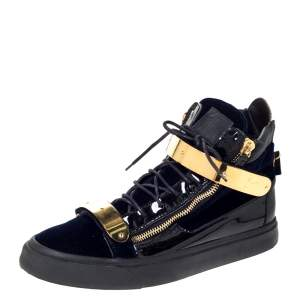 Giuseppe Zanotti Navy Blue Velvet and Black Leather Coby High Top Sneakers Size 45