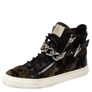 Giuseppe Zanotti Multicolor Camouflage Calf Hair Chain Embellished London High Top Sneakers Size 44.5