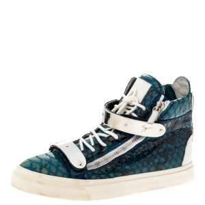 Giuseppe Zanotti Multicolor Python Embossed Leather Coby High Top Sneakers Size 44.5