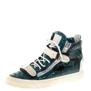 Giuseppe Zanotti Blue Croc Embossed Leather Coby High Top Sneakers Size 41