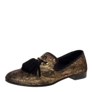 Giuseppe Zanotti Gold Velvet Brocade Fabric Tassel Detail Smoking Slippers Size 41