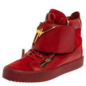 Giuseppe Zanotti Red Suede And Leather Double Zip High Top Sneakers Size 42