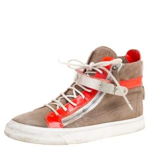 Giuseppe Zanotti Beige/Neon Orange Suede and Patent Leather Coby High Top Sneakers Size 39
