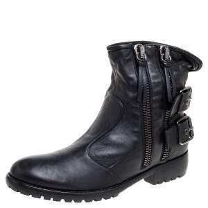 حذاء بوت كاحل جوسيبي زانوتي سير إبزيم جلد أسود مقاس 43
