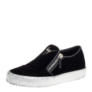 Giuseppe Zanotti Black Velvet Eve Slip On Sneakers Size 40