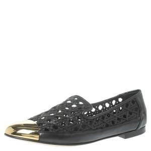 Giuseppe Zanotti Black/Gold Perforated Leather Metal Toe Smoking Slippers Size 41