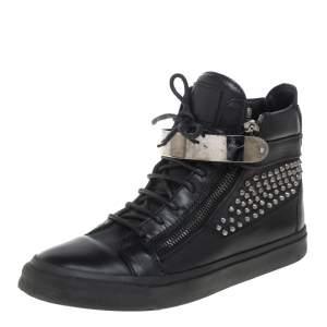 Giuseppe Zanotti Black Leather Spike Embellished Sneakers Size 41.5