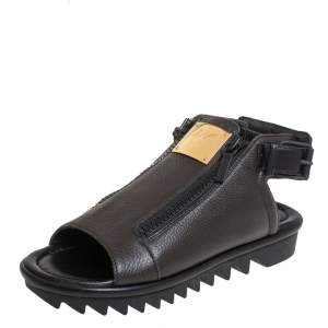 Giuseppe Zanotti Brown Leather Zipper Detail Slingback Sandals Size 42