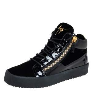 Giuseppe Zanotti Black Velvet And Patent Leather High Top Sneakers Size 40