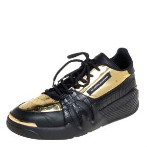 Giuseppe Zanotti Black/Gold Leather And Croc Embossed Leather Talon Low Top Sneakers Size 43