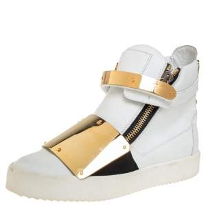 Giuseppe Zanotti White Leather High Top Sneakers Size 40