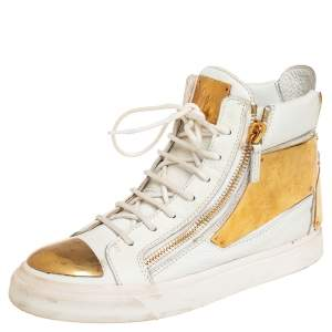 Giuseppe Zanotti White Leather Metal Embellished Double Chain High Top Sneakers Size 39