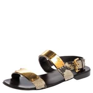 Giuseppe Zanotti Two Tone Python Leather Zak Slingback Sandals Size 42