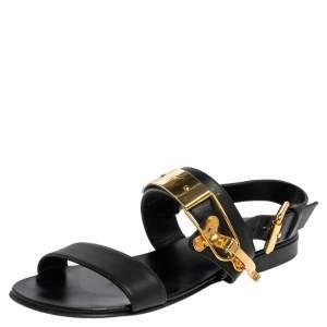 Giuseppe Zanotti Black Leather Zak Flat Sandals Size 41
