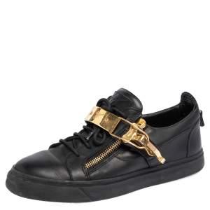 Giuseppe Zanotti Black Leather Metal Embellished Sneakers Size 42