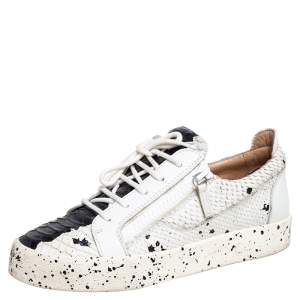 Giuseppe Zanotti White Python Embossed Leather May London Low Top Sneakers Size 41