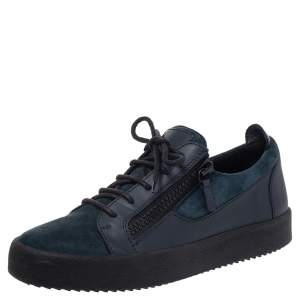 Giuseppe Zanotti Blue Suede And Leather Dona Low Top Sneakers Size 42