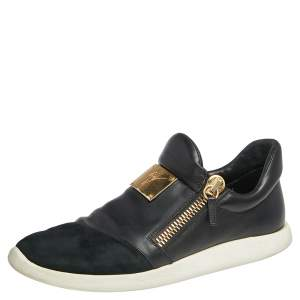 Giuseppe Zanotti Black Suede And Leather Zipper Low Top Sneakers Size 46