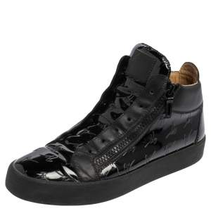 Giuseppe Zanotti Black Patent Leather and Leather Logo Zip High Top Sneakers Size 46