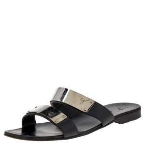 Guiseppe Zanotti Black Leather Slide Sandals Size 41.5