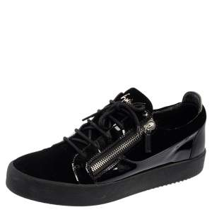 Giuseppe Zanotti Black Patent Leather and Velvet Low Top Sneakers Size 45