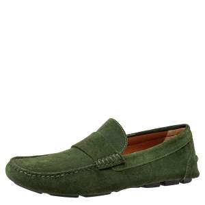 Givenchy Green Suede Slip On Loafers Size 41.5