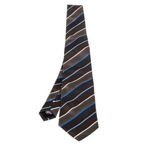 Givenchy Brown Diagonal Striped Silk Tie