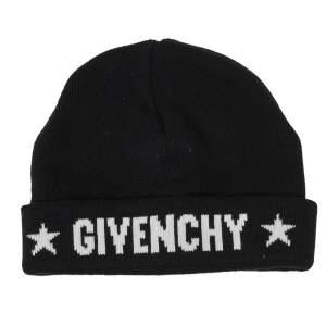 Givenchy Black Star Logo Intarsia Knit Cashmere Beanie
