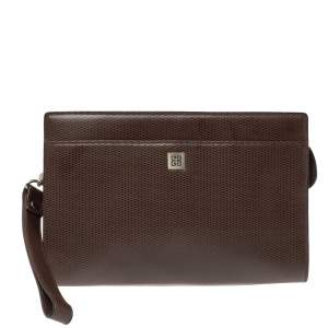 Givenchy Dark Brown Leather Pocket Zip Wristlet Pouch