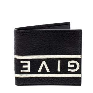 Givenchy Black Leather Logo Bifold Wallet