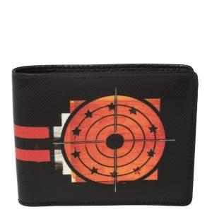 Givenchy Black Leather Dart Print Bomber Bifold Wallet