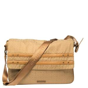 Givenchy Tan Signature Fabric and Leather Trim Messenger Bag
