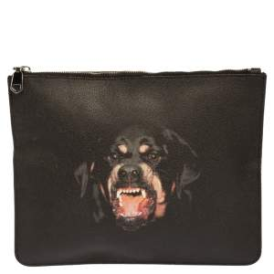 Givenchy Black Rottweiler Printed Leather Zip Pouch