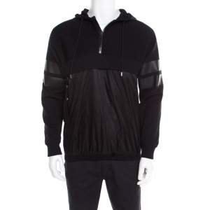 Givenchy Black Knit Layered Hooded Sweatshirt M