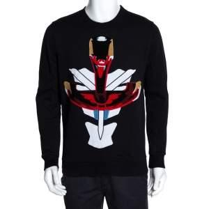Givenchy Black Tribal Motif Cotton Crew Neck Sweatshirt XS