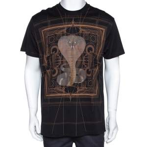 Givenchy Black Cotton Cobra Print Round Neck T Shirt XS