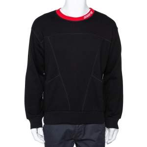 Givenchy Black Logo Embroidered Cotton Leather Patch Sweatshirt M