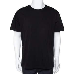 Givenchy Black Cotton Logo Tape Sleeve Detail Crew Neck T Shirt L
