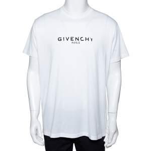 Givenchy White Logo Print Cotton Paris Vintage T-Shirt S