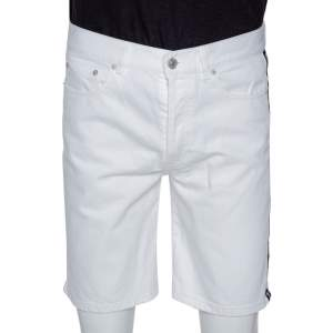 Givenchy White Denim Contrast Logo Tape Detail Shorts M