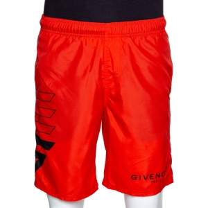 Givenchy Neon Orange Synthetic Logo Printed Track Shorts M