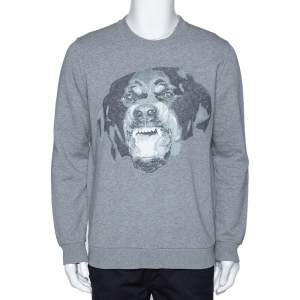 Givenchy Grey Knit Rottweiler Print Cuban Fit Crew Neck Jumper S