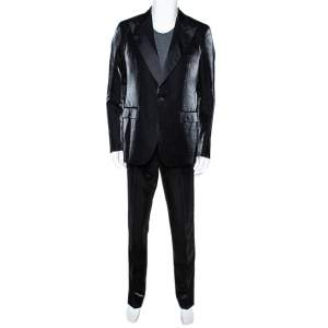 Givenchy Black Shiny Wool Tailored Tuxedo Suit XL