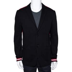 Givenchy Black Cotton Knit Striped Trim Two Buttoned Blazer L