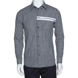 Givenchy Monochrome Gingham Check Cotton Zip Detail Shirt S